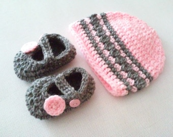 Baby Beanie & Mary Jane Set - 0 to 3 Months, 3 to 6 Months, 6 to 12 Months - Any Color - Baby Girl, Baby Boy