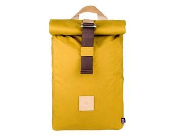 Winnats Roll Top Backpack – Mustard – Made in UK