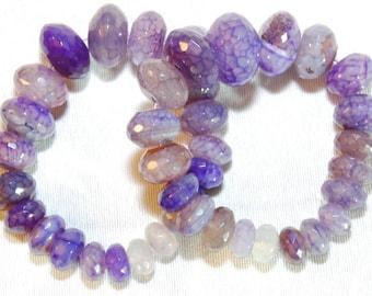 Purple genuine agate beaded bracelet.  Women's