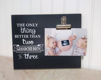 Pregnancy Announcement Photo Frame - The Only Thing Better Than Two Grandchildren is Three - 8x10  Frame, Grandparent Gift, Grandparents Day