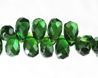 Chrome Diopside Faceted Teardrop Briolette, 3.8mm to 4.7mm x 6-7.3mm,  Natural Genuine Untreated Russian Pine Green Kelly Gemstone KJ