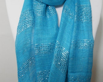 Mothers Day Gift For Her Blue Sparkle Scarf Shawl  Gift Cowl Scarf Sparkly Scarf Blue Wedding Scarf Mom Fashion Accessories  For Mom