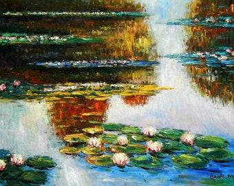 Claude Monet-Water lilies in light d94878 60 x 90 cm exquisite image