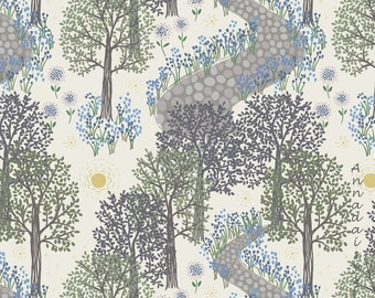 Spring Floral Fabric, Lewis & Irene Bluebell Wood A126 1, Spring Woodland Fabric, Easter Floral Quilt Fabric, Cotton.