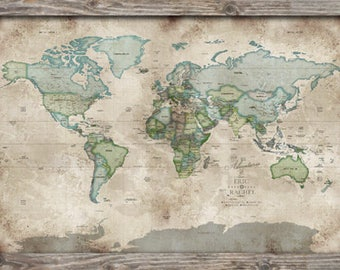 World map push pin world map world posters vintage map rustic wall map push pin travel 36x24 inches retirement present push pin gumiabroncs Gallery