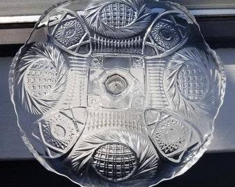 McKee Aztec sunburst cake plate pedestal stand