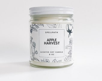 Apple Harvest Soy Candle | Handmade Soy Candle | 8 oz | Scented Candle Apple Cinnamon Clove Nutmeg Ginger | Essential Oil Candle