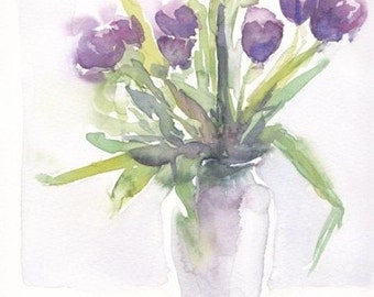 Purple tulips. Original watercolour.