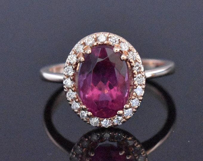 14K Rose Gold Tourmaline and Diamond Ring | Engagement Ring | Wedding Ring | Anniversary Ring | Diamond Halo | Statement Ring | Handmade
