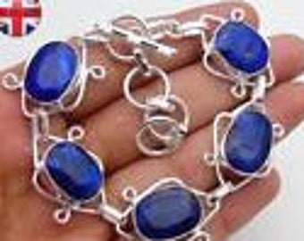 Sapphire 925 Silver Overlay Bracelet 210mm,Gifts Under 10,20,30 Bracelets Under 10,September Birthstone,Sapphire.UK Seller.Top Seller,Unique