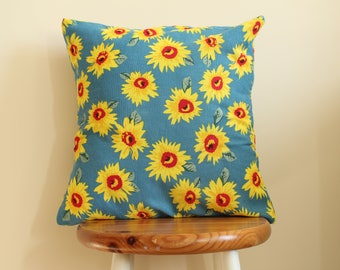 "Decorative 18"" polyester linen, sunflower cushion (Cover Only)"