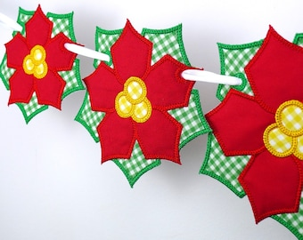 "Poinsettia Banner In The Hoop Project Machine Embroidery Designs Applique Patterns for Christmas in 3 sizes 4"", 5"", 6"""