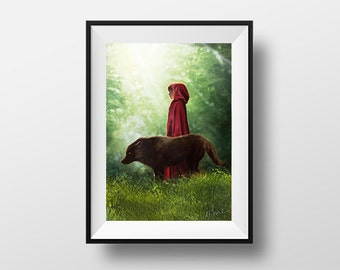 Post the ride of the Riding Hood and Wolf - Digital Illustration printed on A4 photo paper