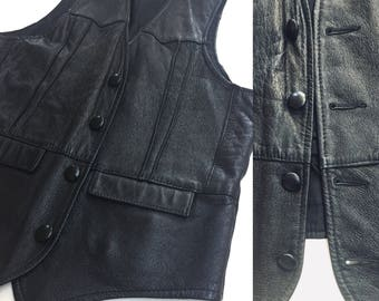 Men's Vintage Leather Vest Black 70's - 80's  Symax Vancouver Canada