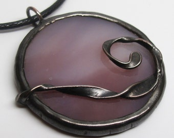 Lilac Moon - Stained Glass Pendant with Black Cord
