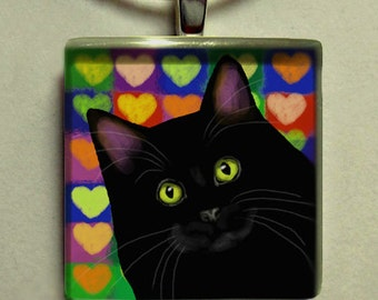 BLACK CAT LOVE hearts 1 inch art glass tile pendant with chain