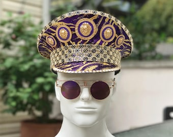 """READY TO SHIP! """"Gata"""" Military Hat in Purple/Gold. Captain Hat. Burning Man Hat. Versace inspired."""