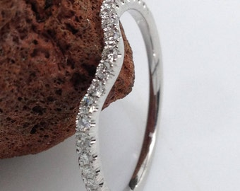 Diamond Curved wedding band ,Diamond band,Wedding band,Jewelry,Diamond jewelry, White gold diamond band, Engagemet Ring,Stackable ring