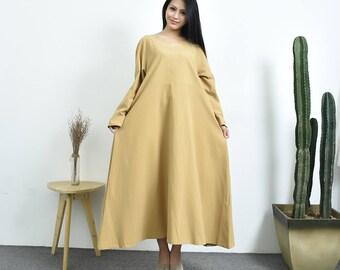 Trollflower---leisure  dress  Linen&cotton dress  withdouble  pockets   Plus size dress  Plus size clothing