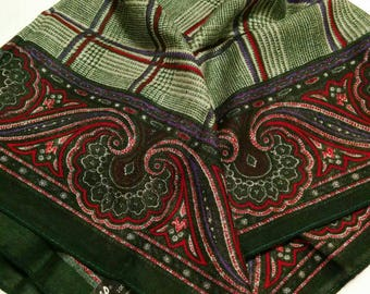 Vintage Challis Green Plaid and Paisley Scarf from Japan