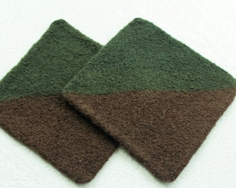 Set Brown Green Wool Felt Hot Pads, Wool Pot Holder Set, Brown Green Knit Felted Trivet Set, Earth Tones Pot Holder Set, Brown Wool Trivets