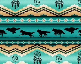 Tucson Stripe, Wolf Stripe, Dream Catcher, Southwest Fabric by Elizabeth Studio 556 Turquoise - Priced by the 1/2 yard