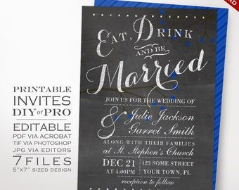 Wedding Invitation Template - Chalkboard Wedding Invitation - Printable DIY Berries Chalkboard Royal Blue Invitation Editable Wedding Invite