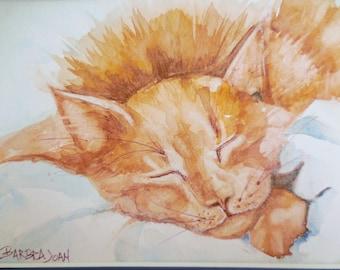 Ginger cat watercolor, original watercolor, cat painting