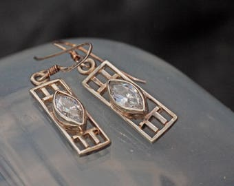 Vintage Silver Mackintosh Style Drop Earrings