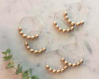 "Boho luxe Hoop earrings - Medium to large sized hoop earrings - 2"" hoop earrings, Matte gold faceted Czech glass beads"
