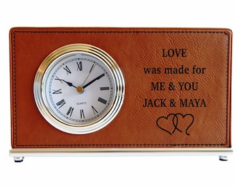 Boyfriend Gift - Engagement Gifts - Long Distance Love Gift - Personalized - Gift for Husband from Wife - Girlfriend - Desk Clock, LCH027
