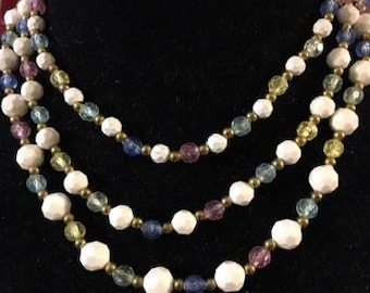 Vintage Multi Color and White Mult Strand Necklace
