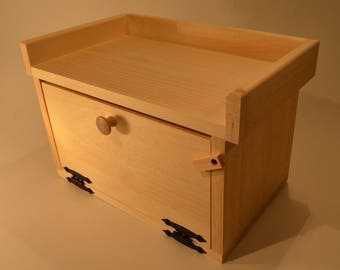 Unfinished Pine Countertop Bread Box with Top Shelf