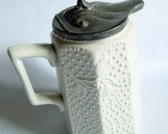Parian Ware Style Victorian jug with Pewter Lid