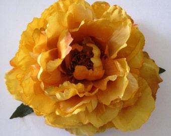 "6"" Mustard Amber Sage  Peony Silk Flower Hair Clip"