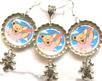 Grateful Dead Necklace and Earrings, Sterling Silver and Ice Cream Dancing Bears, Tie Dye Deadhead Jewelry, Grateful Dead Jewelry Hippie #8