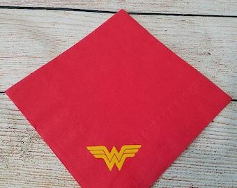 Wonder Woman Inspired Napkins Dinner or Cocktail Superhero