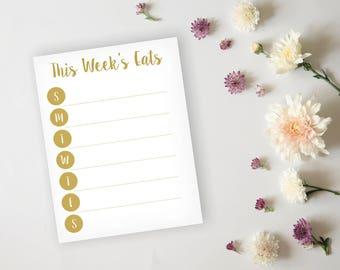 Printable Menu Planner - Simply Elegant Gold Dinner Planner, Weekly Meal Prep - Daily Menu Planner - Grocery List Planner - Instant Download
