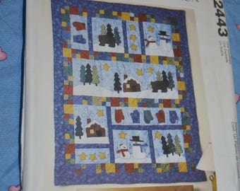 McCalls 2443 An American Tradition Quilt mantle Cover, PIllows and Stockings Sewing Pattern - UNCUT