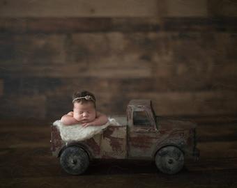 Newborn Digital Backdrop Antique Tin Truck Rustic Organic