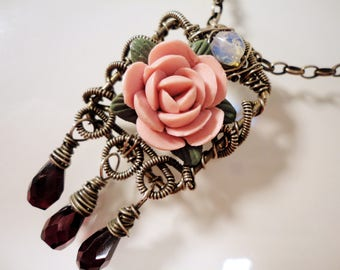 Wire Wrapped Rose and Garnet Necklace