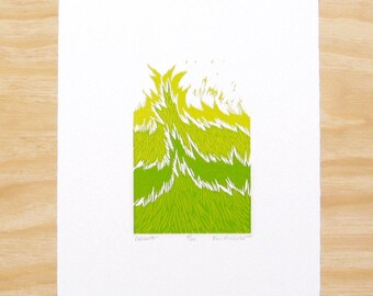 "Woodblock Print - ""Growth"" - Spring Green Grass Plant - Art Printmaking"