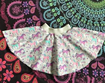 Circle Skirt in Gray Rainbow Unicorn Cotton Fabric