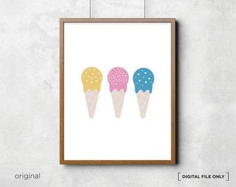 Ice cream print, gelato print, ice cream poster, children's print, nursery decor, kids printable, ice cream wall art, Digital print