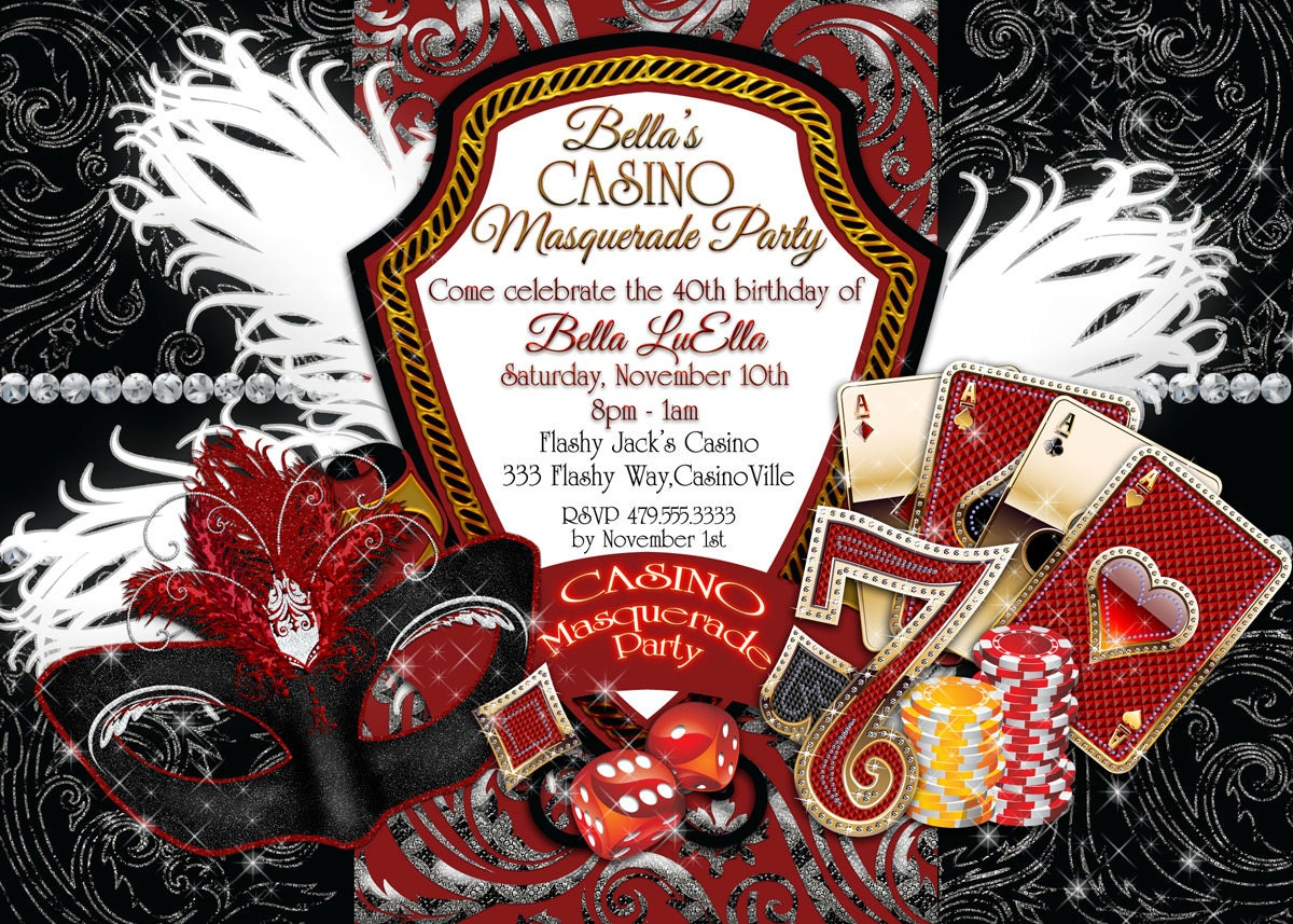 Casino Night Invitations Masquerade Casino Party Casino