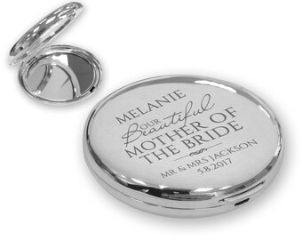 Personalised engraved MOTHER of the BRIDE compact mirror wedding gift idea, SILVER plated - LA6