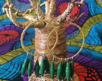 Large Round Green Hoop Dangle Earrings, Holiday Earrings, Christmas Earrings, African Handmade Earrings, Lightweight Earrings, Paper Beads