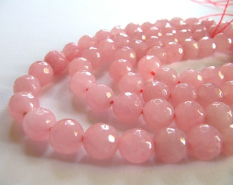 6mm JADE Beads in Pink, Faceted, Round, Full Strand, 62 Pcs, Dyed Gemstones, Pink Stone Beads
