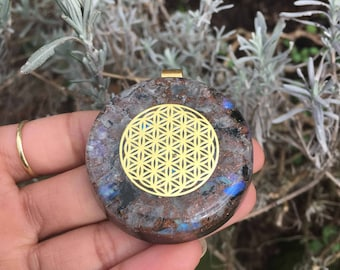 Flower Of Life Rainbow Moonstone Orgonite® Necklace