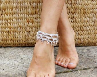 Anklet Crochet PATTERN- Boho Beaded Anklet/ Crochet Beads Beach Wedding Sandals/ Crochet Textile Jewelry